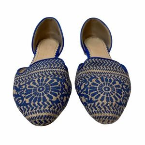 Restricted Glory D'Orsay Blue/White Woven Flats
